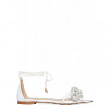 Carrie White Lace Up Gem Clear Sandals