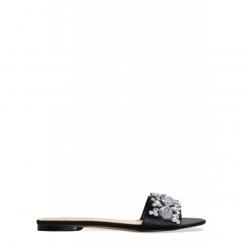 Ciara Black Satin Diamante Gem Sliders