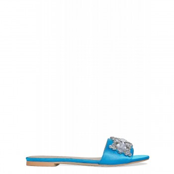 Ciara Blue Satin Diamante Gem Sliders