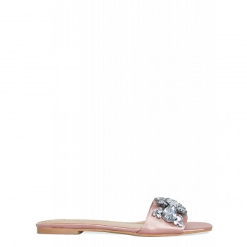 Ciara Blush Satin Diamante Gem Sliders