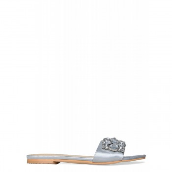 Ciara Silver Satin Diamante Gem Sliders