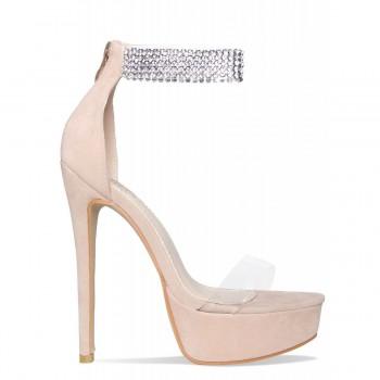 Callie Nude Suede Diamante Clear Platform Heels