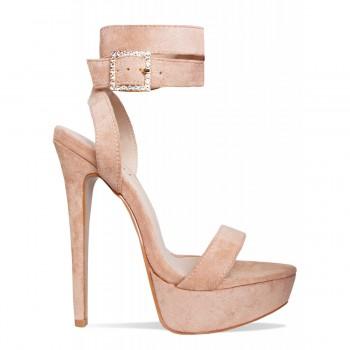 cadb3111d2 Sylvie Beige Suede Lace Up Diamante Platform Heels